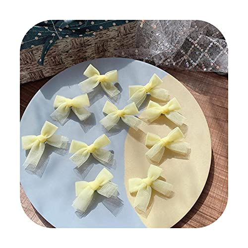 10 pinzas para el pelo para niños con lazo pequeño, color amarillo