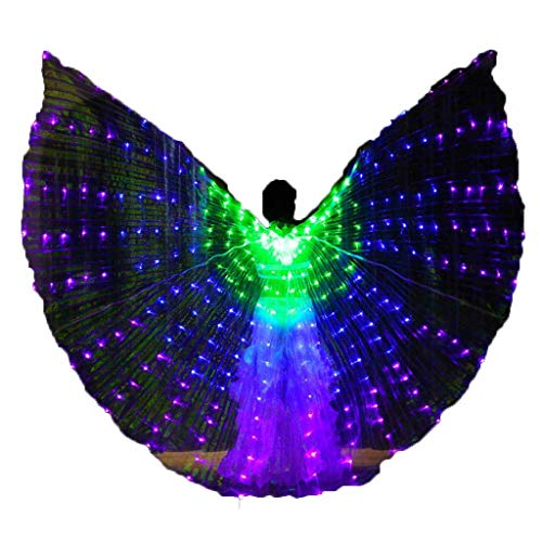 Belly Dance LED Isis Wings with Telescopic Sticks Glow Light Up Angel Costumes (Green-Blue-Purple)