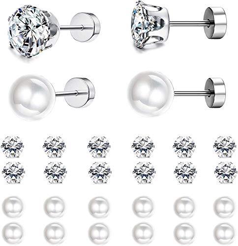 Milacolato 12 Pares de Acero Inoxidable Redondo Claro Pendiente de Perla de Circonita Cúbica para Mujer Pendientes CZ 3-6MM