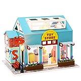 Casa de Muñecas en Miniatura Casa de Muñecas de Madera para Bricolaje con Muebles y Luz LED Juguetes para Niños Regalos Creativos para Niños Amigos (Tienda de Juguetes Azul)
