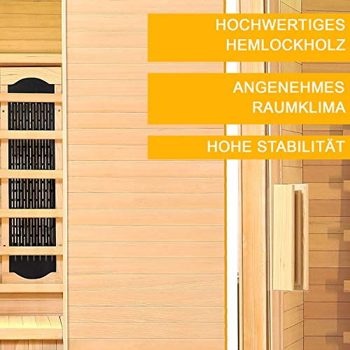 Infrarotkabine Helsinki 150 Keramikstrahler & Hemlockholz | Infrarotsauna mit Relaxliegen für 2 Personen | ArtSauna - 7