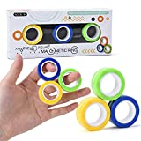 Fidget Magnetic Rings Stress Relief Spinner Anti-Anxiety Finger Gear Office Boring Hand Stunt Figit Toy for Relieving ADHD Magical Fingertip Rings Toy Magnetic Game Unzip Toys for Men, Women and Kids