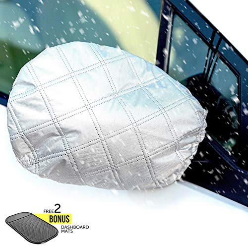 Autoamerics Car Side View Mirror Snow And Ice Cover - Set Of 2 - Winter Auto Accessories - Fit Most Universal Cars SUV Van Truck - Best Vehicle Mirrors Guard From Frost, Dirt, Dust, Rain and Bird Poop