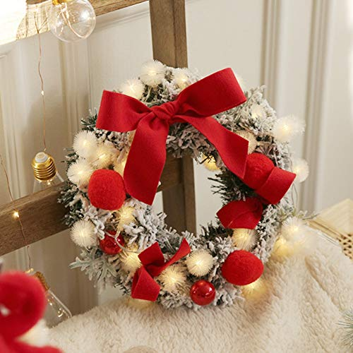 Ghirlanda decorata pre-illuminata di Natale, ghirlande di palline con palline di pompon con luci a LED per ragazze Camera da letto Porta d'ingresso Sala Matrimonio Compleanno Decorazione murale