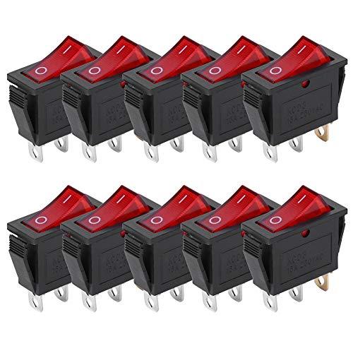Ladieshow Interruptor basculante de 3 Pines On/Off Luz roja 2 Posiciones KCD3 Accesorios para electrodomésticos Interruptor de botón Rojo (10 Piezas)