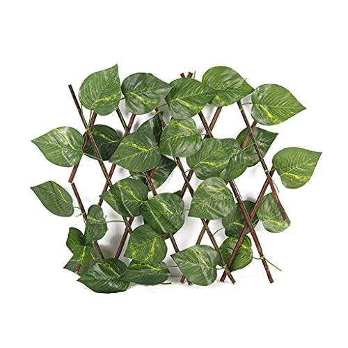 Xuebai Valla de Enrejado retráctil seto de Madera de Hoja Verde Artificial, Valla de Madera para jardín, D #