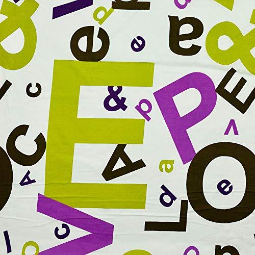 Kt KILOtela Tela por Metros de sábana Estampada - Algodón y poliéster - Retal de 300 cm Largo x 270 cm Ancho | Letras - Verde, marrón, Lila - 3 Metros
