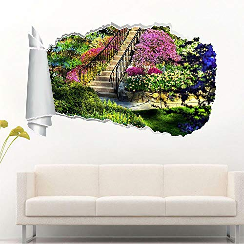 HQSM Pegatinas de pared Garden view 3d torn hole wall sticker decal home decoration art mural