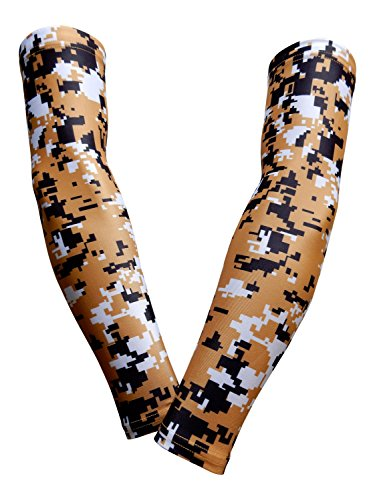 PAIR - Sports Farm - Compression Elbow Arm Sleeves (YOUTH LARGE, GOLD BLACK DIGI CAMO)
