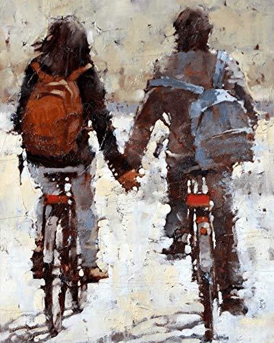 Pintura por Números Bicicleta Romance Pareja Mujer para Adultos y niños Pintar Diy al óleo de Bricolaje con Marco Pinceles Principiantes Hogar Lienzo Decoraciones Colores Acrílica Conjunto Casa