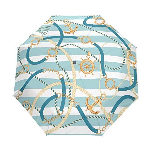 RELEESSS Reise-Regenschirm, Ankerketten, Muster, kompakt, winddicht, tragbar, Regenschirm für Damen und Herren, Unisex