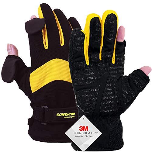 Songwin wasserdichte Winterhandschuhe,3M Thinsulate Ski & Snowboard Handschuhe für Herren und Damen,Touchscreen-Handschuhe zum Angeln,Fotografieren,Jagen im Freien.(Gelb & Schwarz, M)