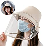 LA-Hazel UVカット 帽子 レディース 防塵カバー 日焼け防止 花粉症対策 サンバイザー つば広ハット レインハット レインバイザー 紫外線対策 ゴーグル 日除け 夏 (ベージュ)