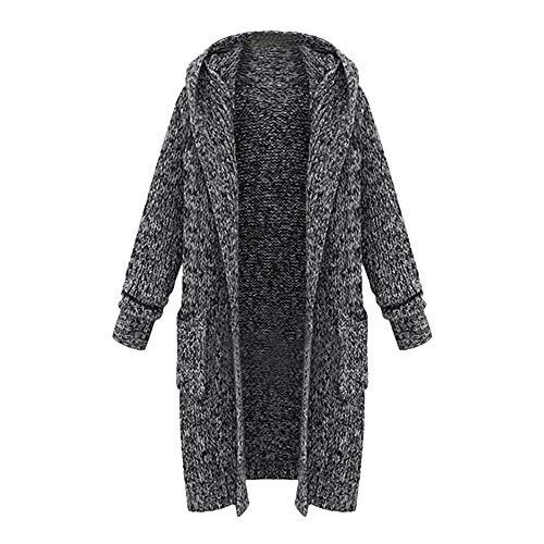 Komise 17180# Damen Lange Wollstrickjacke Mantel Pullover (One Size, Schwarz)