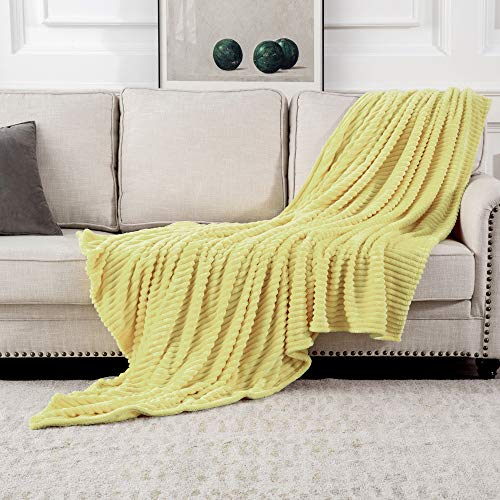 MIULEE Manta Blanket Terciopelo Grande para Sófas Mantilla de Franela para Siesta Suave Manta Corduroy para Cama Ligera y Cálida Felpa para Mascota Cama Habitacion 1 Pieza 125x150cm Amarillo Claro
