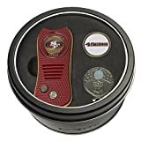 Team Golf NFL San Francisco 49ers Gift Set Switchfix Divot Tool, Cap Clip, & 2 Double-Sided Enamel Ball Markers, Patented Design, Less Damage to Greens, Switchblade Mechanism