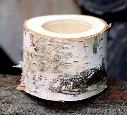 Kerzenhalter aus Birkenholz Höhe 5 cm Kerzenständer Teelichthalter Birkenstamm Birke Massivholz