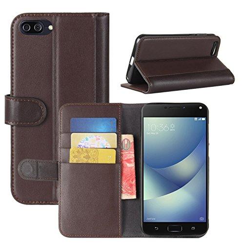 HualuBro Zenfone 4 Max ZC520KL Hülle, Echt Leder Leather Wallet Handyhülle Tasche Schutzhülle Hülle Flip Cover für Asus Zenfone 4 Max ZC520KL 5.2 Inch Smartphone (Braun)