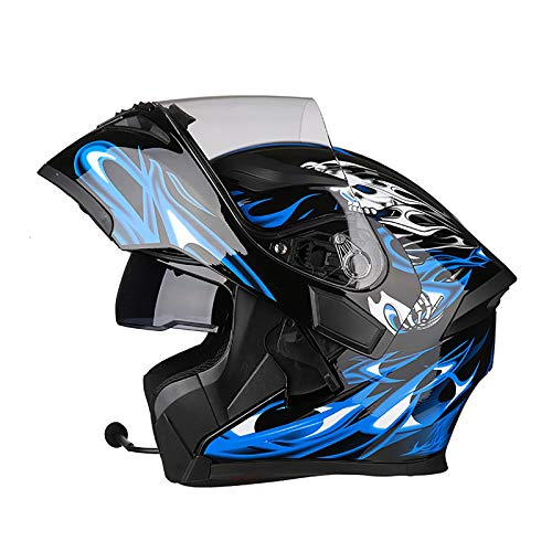 Casco moto apribile Bluetooth modulare apribile a doppia visiera Caschi integrali, casco approvato DOT/ECE, sistema di comunicazione integrato radio integrato 6,M=54-57CM
