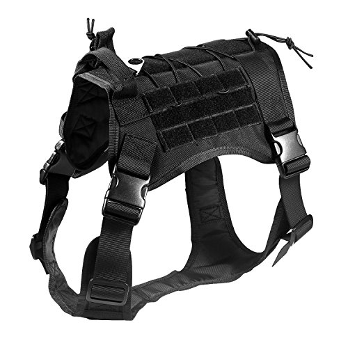 Feliscanis Tactical Service Dog Vest Military Patrol K9 Dog Vest Black M
