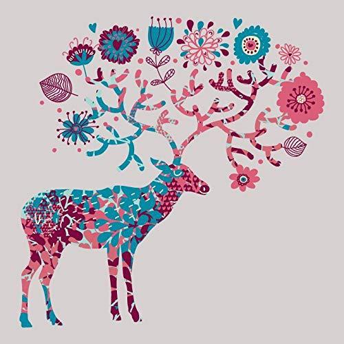 SDFSD Abstrakte Hirsch Elch Buck Blume Schmetterling Muster Tier Cartoon Kinderzimmer Kinderzimmer Wohnkultur Wandkunst Poster Leinwand Malerei 60 * 100cm