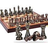 Tablero de ajedrez profesional Gran juego de piezas de ajedrez caja de regalo conjunto de estilo retro de bronce de metal de alta gama de ajedrez tablero de ajedrez plegable adicional dedicado juego d
