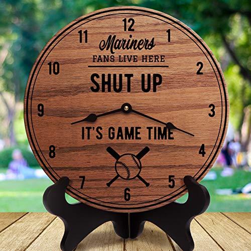 NoBrands Mariners, Shut Up Its Game Time, Sportgeschenke, Geschenk für Sportfans, Sportraumdekoration, Sports Are On, für Ihn, Ehemann, Herrenuhr, 30,5 cm dekorative Wanduhr, zum Aufhängen