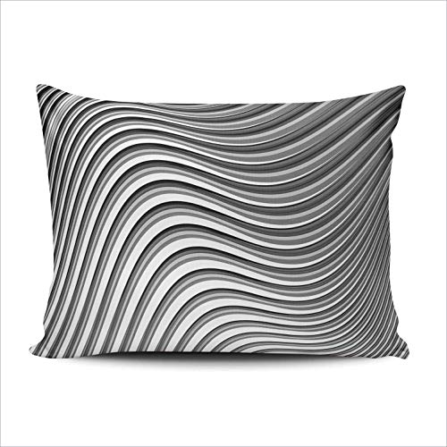 DKISEE Custom Rectangle Pillowcase Monochrome Parallel Waving Lines Abstract Lumbar Throw Pillow Cover Cushion Case Doule Sided Print 12x20 inches