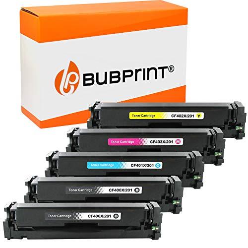 Bubprint Kompatibel Toner als Ersatz für HP CF400X CF401X CF402X CF403X 201A 201X für Color LaserJet MFP M277DW M277N M270 M252DW M252N M274DN M274N Multipack 5er-Pack