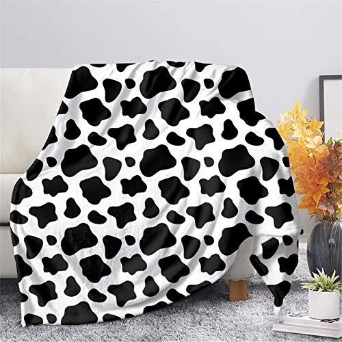 HUGS IDEA Manta de microfibra de forro polar de franela de vaca, patrón clásico de animales de vaca, punto negro, suave, grande, para adultos, para cama, sofá, oficina, camping, S