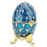 Organizador de joyas con diamantes de imitación, caja vintage Fabergé estilo huevo coleccionable esmaltado huevo de Pascua, decoración artesanal, regalo (azul)