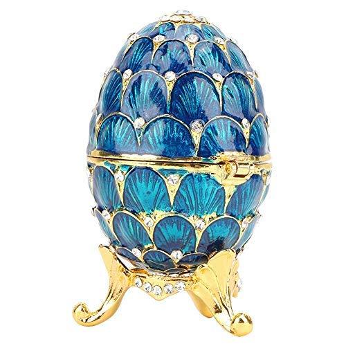 Organisateur de Bijoux Diamant bibelot boîte Vintage Fabergé Style Oeuf à Collectionner émaillé Oeuf de Pâques décoration Artisanat Cadeau (Bleu)