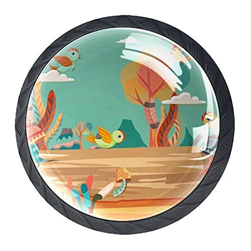 Bird Nature Illustration, 4 piezas de pomos de gabinete de cocina ABS estilo Mord, pomos redondos para cajones