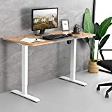 MONOMI Electric Height Adjustable Standing Desk, 55 x 28 inches Stand up Desk, Sit Stand Home Office Desk, Light Walnut and Grey Top/White Frame