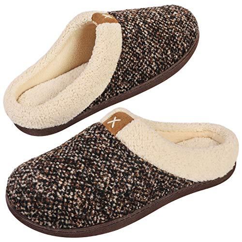 VeraCosy Komfortable Herren Memory Foam Hausschuhe, wollähnliche Plüschflausch gefütterte Pantoffeln mit Gummisohle für Drinnen und DraußenGr.42/43 EU-Braun