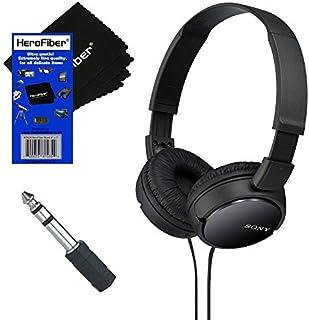 Sony MDRZX110 ZX Series Stereo Headphones (Black) with 3.5mm Mini Plug to 0.6cm Headphone Adapter & HeroFiber Ultra Gentle...