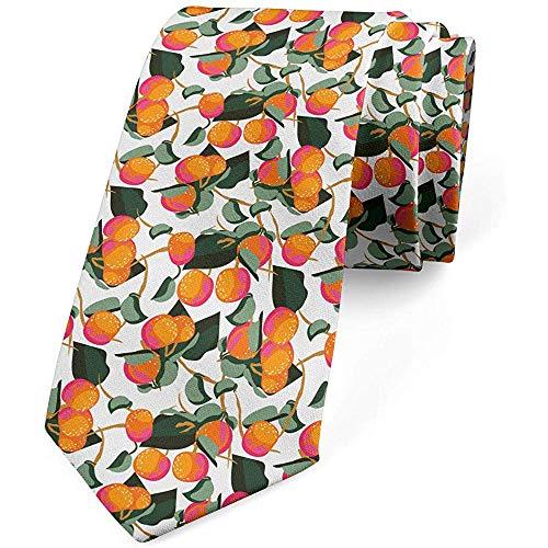 Mathillda Corbata, mandarina cítrica con hojas, corbata de vestir, regalos perfectos multicolores para corbata de moda