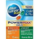 Alka-Seltzer Plus Maximum Strength PowerMax COLD & FLU Day + Night Liquid Gels, 16ct (Pack of 2)