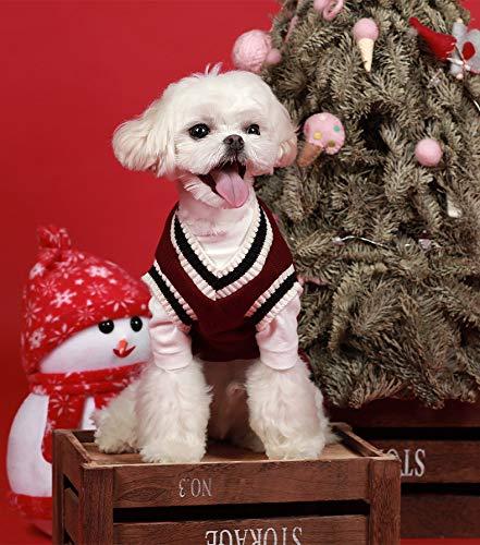 Ropa Para Mascotas Más Terciopelo Chaleco De Punto De Otoño E Invierno Con Cuello En V M Vino rojo