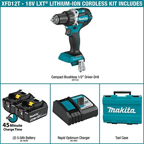Makita XFD12T 5.0 Ah 18V LXT Lithium-Ion Compact Brushless Cordless 1/2″ Driver-Drill Kit