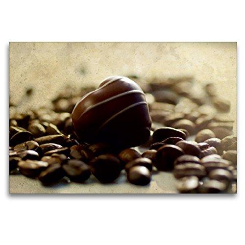 CALVENDO Premium Textil-Leinwand 120 x 80 cm Quer-Format Schokolade mit Kaffeebohnen, Leinwanddruck von Tanja Riedel