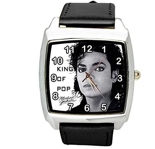 Taport® Michael Jackson quarzo quadrato orologio nero quadrante in vera pelle Band E2