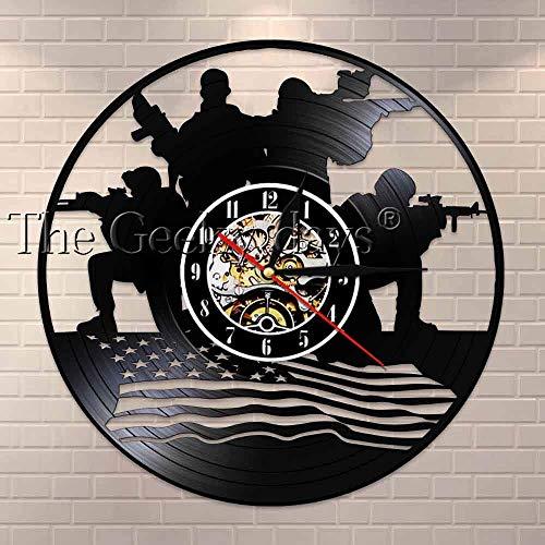 Reloj de pared militar con diseño patriótico con diseño militar soldados con bandera americana, regalo conmemorativo para soldados veteranos