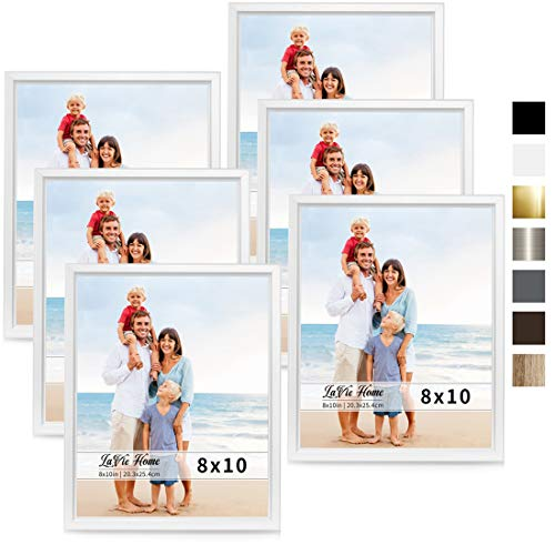 LaVie Home 8x10 Picture Frames (6 Pack, White) Simple Designed Photo Frame with High Definition Glass for Wall Mount & Table Top Display, Set of 6 Classic Collection