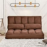 Lazy Sofa Bed Adjustable Floor Sofa, Foldable Gaming Sofa Mattress Futon Couch Bed with 2 Pillows