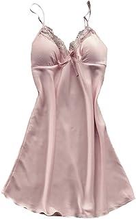 Vestido de Dormir Largo Estampado de Flores Pijama Mujer Verano Conjutno Una Pieza Sexy Bata de Seda Camisola de Encaje Floral Ropa Interior de Cama Camisola Elegante Cuello V Lencería Erótica