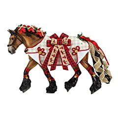 """2020 Breyer Holiday Horse - Yuletide Greetings is adorned with rustic appeal. His plaid blanket features """"Happy Holidays"""" embroidered on one side, and a large buffalo plaid bow on the other. Ribbons, burlap, and rope detailing complete his look, whic..."""