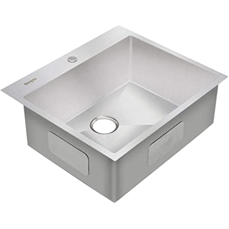 Bonnlo 25 Inch Drop In Kitchen Sink 18 Gauge T304 Stainless Steel Single Bowl Topmount Sink 25 X 22 X 9 Inch Amazon Com