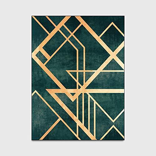 Designer Vloerkleed Modern Vloerkleed Vintage Donkergroene Gouden Lijn Deurmat Slaapkamer Woonkamer Kleed Nachtkastje Keuken Mat,40 * 60cm
