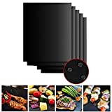 WHATWEARS 5 Pieces BBQ Grill Mats, Non-Stick Barbecue Grilling Accessories Baking Cooking Sheets for Indoor Outdoor BBQ Works on Gas Charcoal Electric-13 X 16 Inch